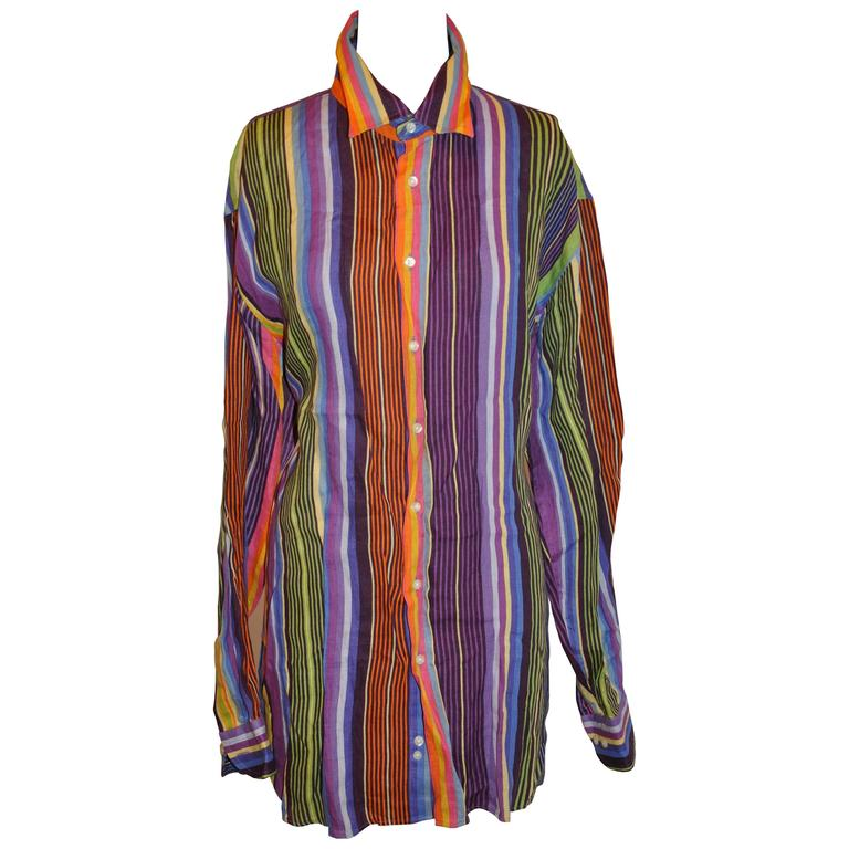 Etro Men S Multi Color Stripe Linen Button Shirt At 1stdibs