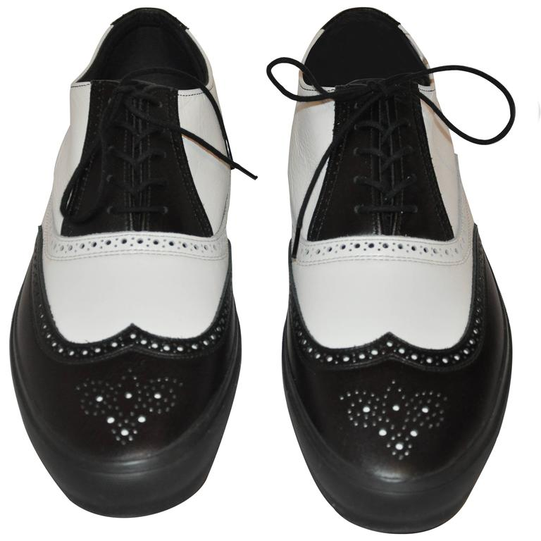 "Comme des Garcons Men's Black & White ""Specs"" Rubber-Sole Shoes 1"