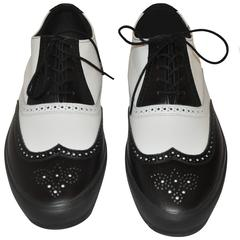 "Comme des Garcons Men's Black & White ""Specs"" Rubber-Sole Shoes"