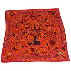 Large Hermes Silk and Cashmere Scarf