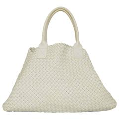 Bottega Veneta White Hand Woven Leather Large Cabat Tote Bag rt. $10,300