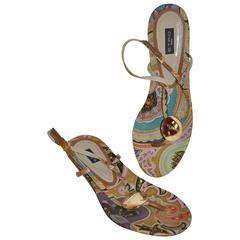 ETRO Multi-Color Linen Palsey-Print with Gold Hardware Adjustable Sandal