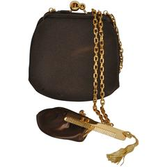 Judith Leiber Textured Coco-Brown Silk Evening Bag with Gold hradware