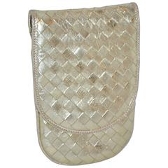 Bottega Veneta Metallic Gold Lambskin Cross-body Evening Shoulder Bag