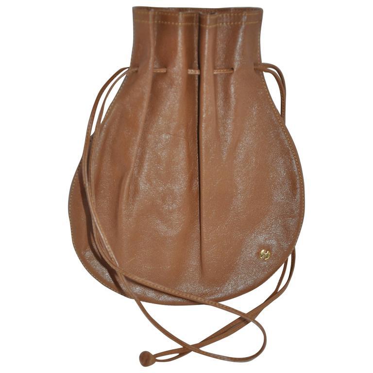1970s Halston Brown Calfskin Drawstring Pouch Bag