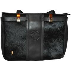 Roberta di Camerino Black Calfskin with Brushed Pony Accent Handbag