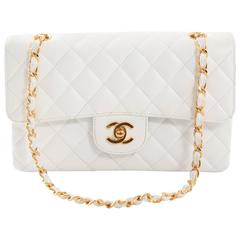 1997-1999 Chanel White/Gold Small Double Flap Handbag