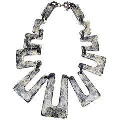French Resin Artful Jackson Pollack Inspired Necklace