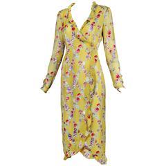 Emanuel Ungaro Yellow Silk Floral Lattice Pattern Day Dress w/Ruffled Edges