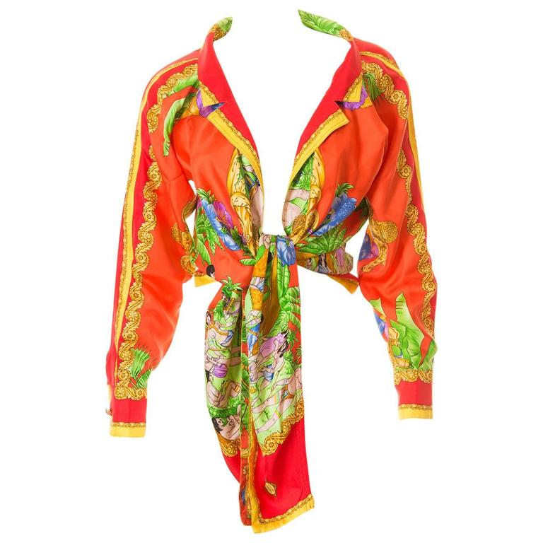 Gianni Versace Silk Tie Front Shirt 1