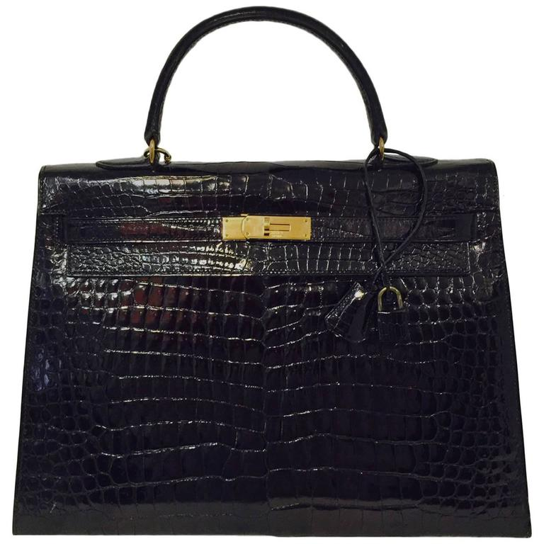 Hermes Black Shiny Crocodile Kelly 35 GHW Above Excellent Condition w. Cadena For Sale