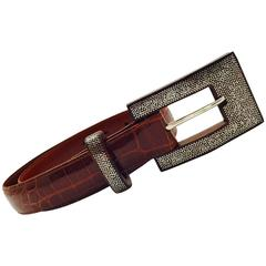 Patricia Von Musulin Alligator Belt with Coco Bolo Wood & Sterling Silver Buckle