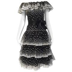 1980s Arnold Scaasi black and white polkadot sequin tulle cocktail dress