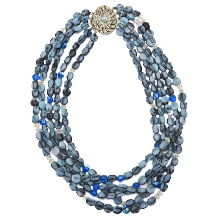 5 Strand Murano Glass Bead Necklace / SATURDAY SALE For Sale
