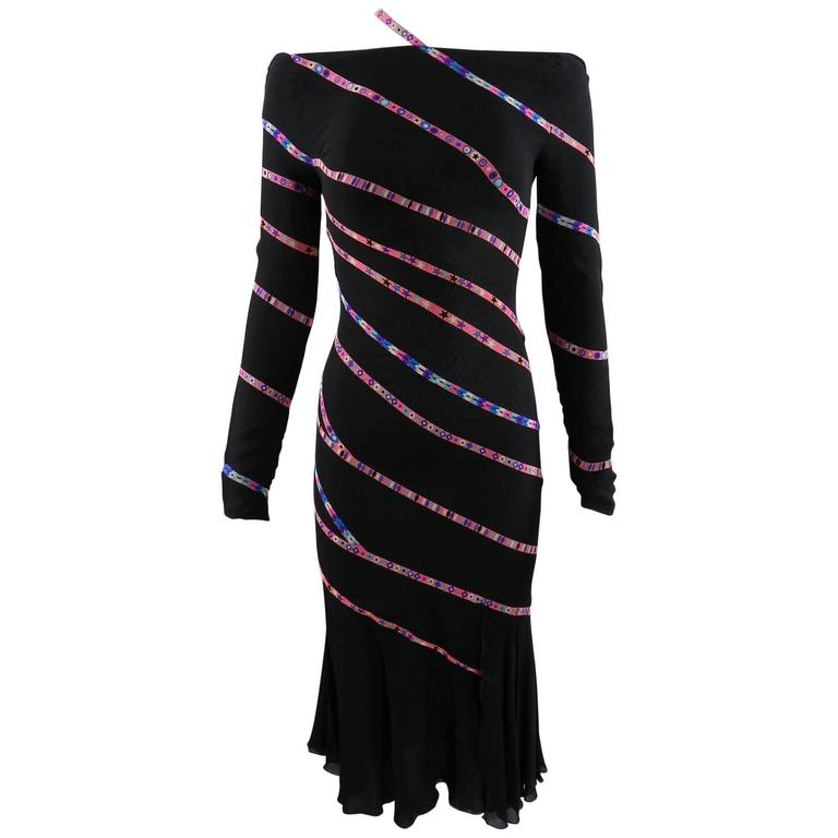 Gianni Versace 1990's Black and Pink Silk Dress with Stars