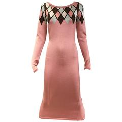 90s ALAIA pink diamond harlequin print viscose dress