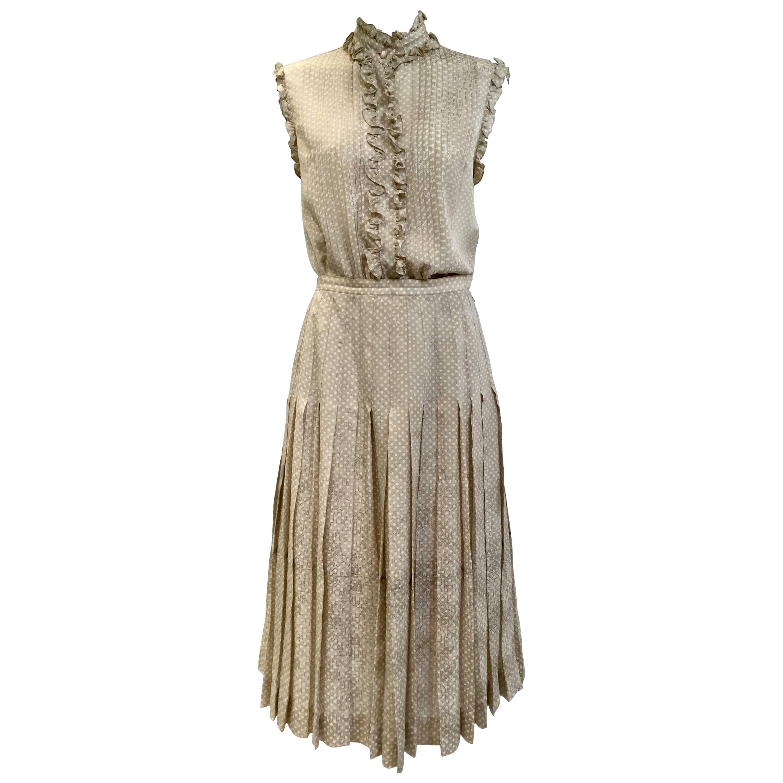 1970s Chanel  Polkadot Silk Ruffle Blouse and Skirt Set