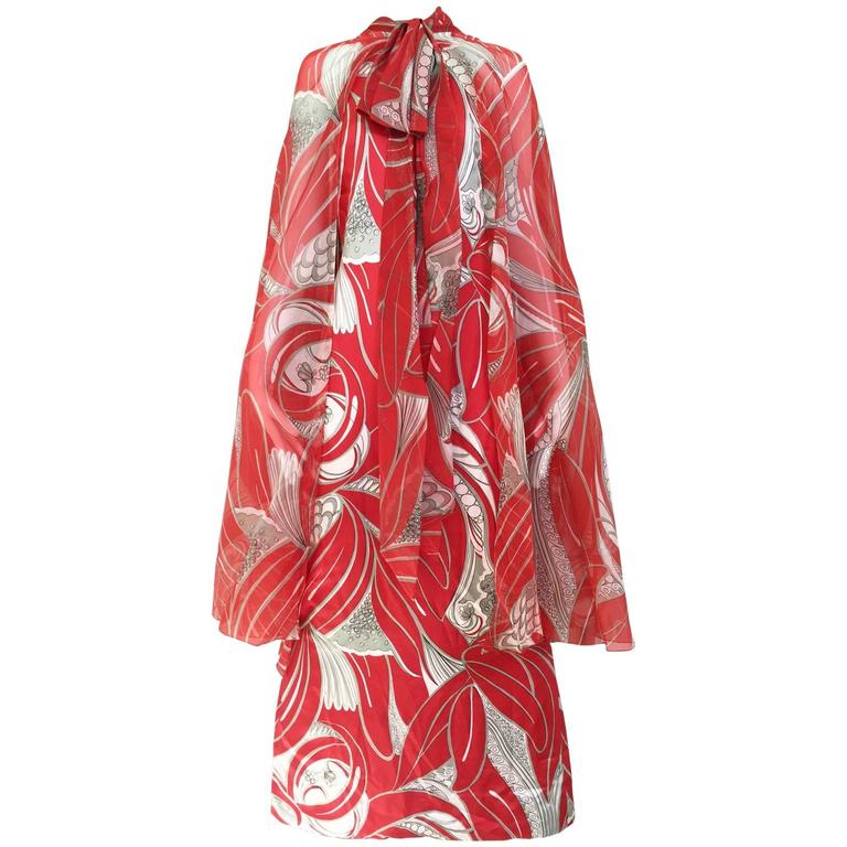 1970s Adele Simpson red and grey silk dress with cape
