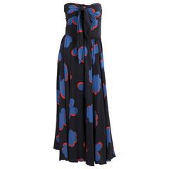 1970's French Strapless Silk Print Dress, Saks Fifth Avenue