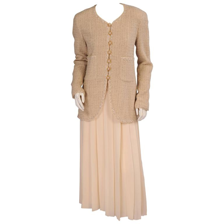 Chanel Numbered Haute Couture Cream Wool Jacket & Pleated Silk Chiffon Dress