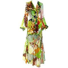 spring  2002 Gianfranco Ferre- runway  green silk print bohemian ensemble