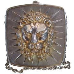 Ornate Metal Lion Emblem Evening Bag Made in Italy c 1970s