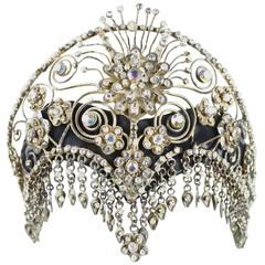 Vintage Ornate Scroll Work Claw Set Crystal Head Dress