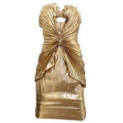Late 80s Thierry Mugler  Iconic gold silk lame bustier dress