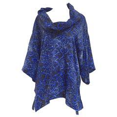 80s Yohji Yamamoto blue and white print cowl neck oversize blouse