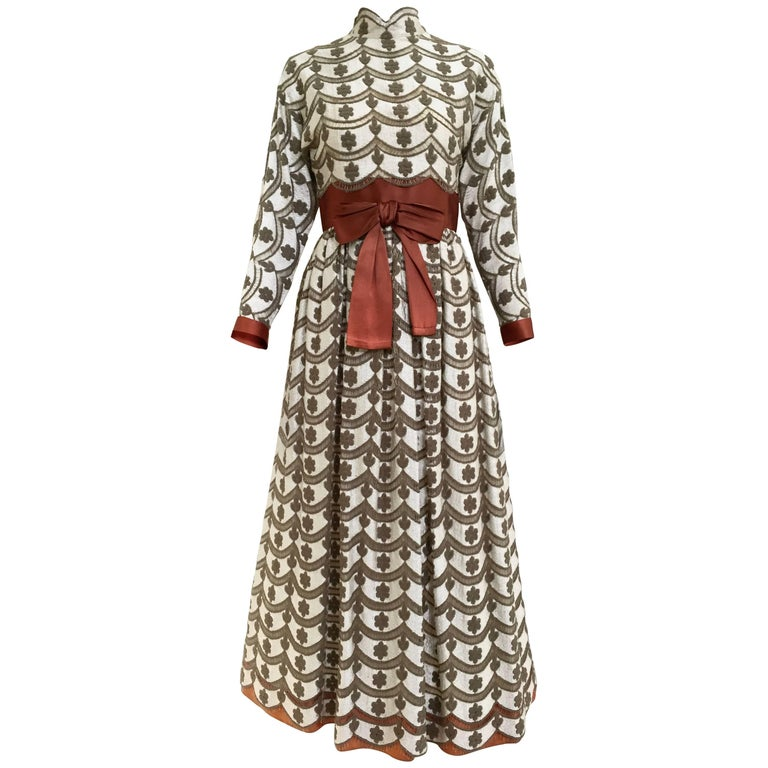 1970s brown and silver maxi lace dress  For Sale