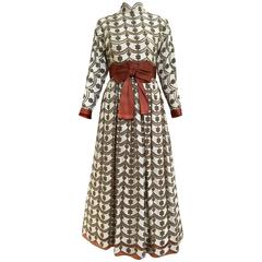 1970s brown and silver maxi lace dress