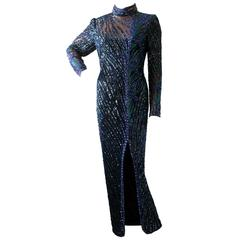 Exquisite Bob Mackie Boutique Fully Beaded Evening Gown Early 80s Size 14