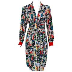 1990's Chanel Colorful Paris-City Scenic Novelty Print Ruched Silk Pleated Dress