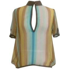 Christian Dior Vintage Semi-Sheer Striped Blouse