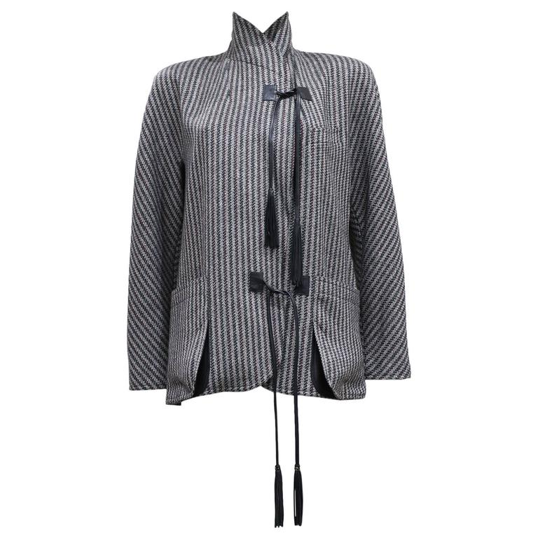 Gucci tweed and leather blazer, c. 1980s