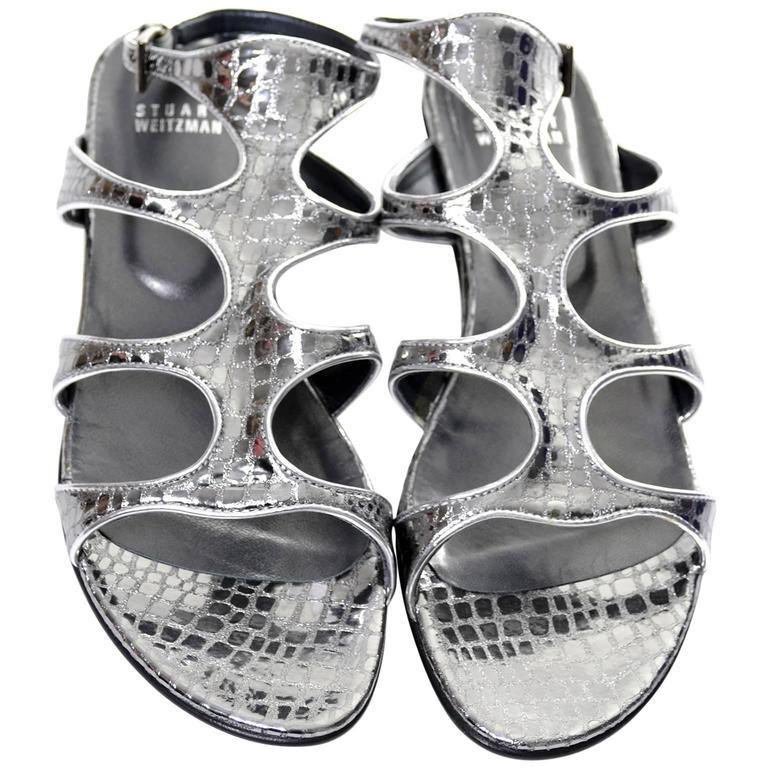 NEW in Box Stuart Weitzman Metallic Alligator Leather Gladio Gladiator Sandals 8