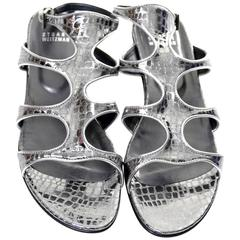 NEW in Box Stuart Weitzman Metallic Alligator Leather Gladio Gladiator Sandals 8