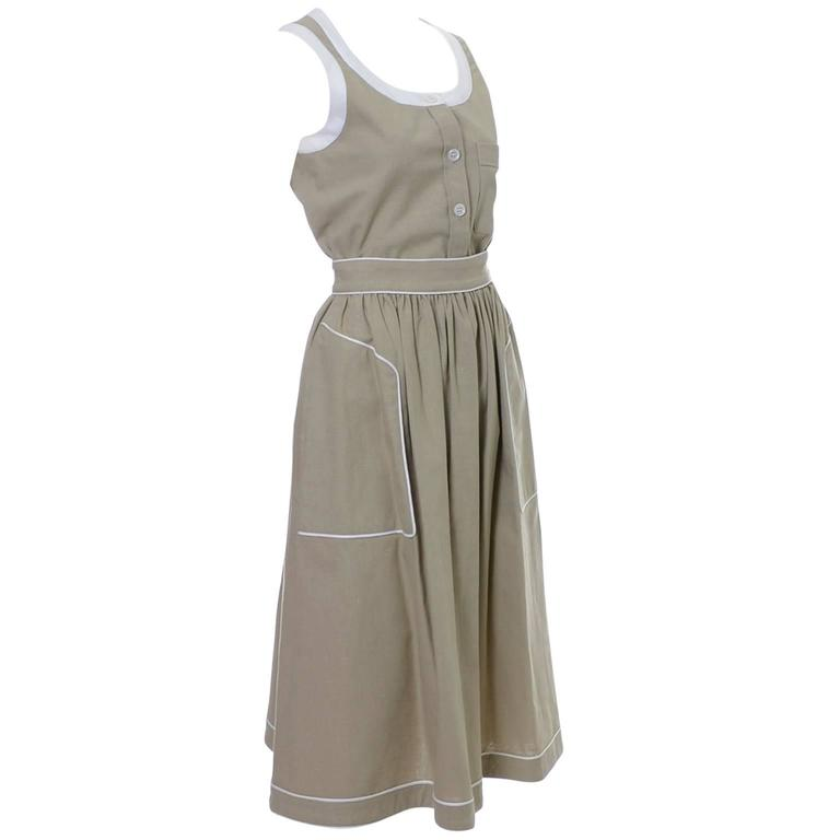 1970s Valentino Vintage 2pc Linen Dress Skirt Top Ensemble Made in France 6 1