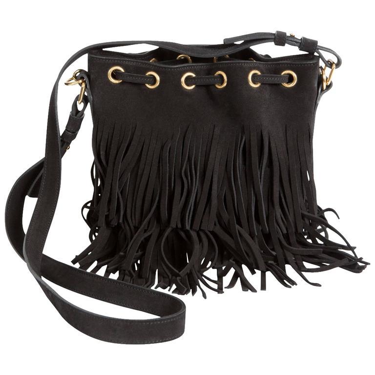 621d1d7bc0 Yves Saint Laurent Black Suede Fringed Emmanuelle Bucket Bag For Sale
