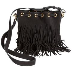 Saint Laurent Black Suede Fringed  Emmanuelle Bucket Bag