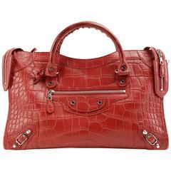 Balenciaga Red Matte Crocodile City Bag