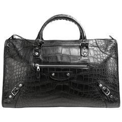 Balenciaga Black Crocodile Weekender Bag