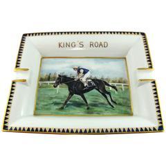 "Hermes Equestrian ""King's Road"" Large Porcelain Cigar Ashtray Pin Tray"
