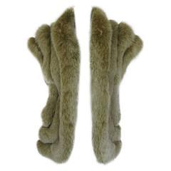 sleeveless lime green fox fur body warmer