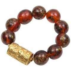 Antique Tibetan Natural Amber and Embossed Gold Bead Bracelet