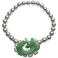 Faux Jade Dragon Fish Brooch Pin Faux Tahitian Pearl Necklace and Earrings