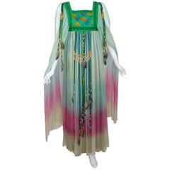1975 Gina Fratini Elizabeth Taylor Ombre Chiffon Wedding Dress Documented