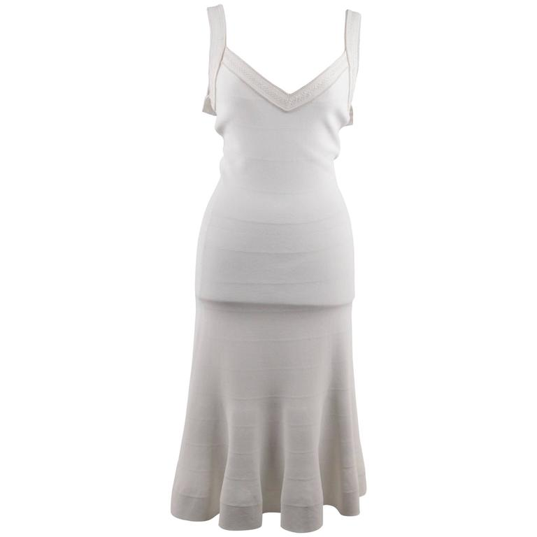 AZZEDINE ALAIA White STRETCH Fit & Flare MIDI DRESS Sleeveless V NECK