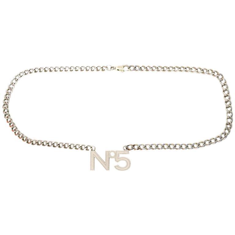"Chanel Silvertone ""No 5"" Chain Link Belt sz 38"" For Sale"