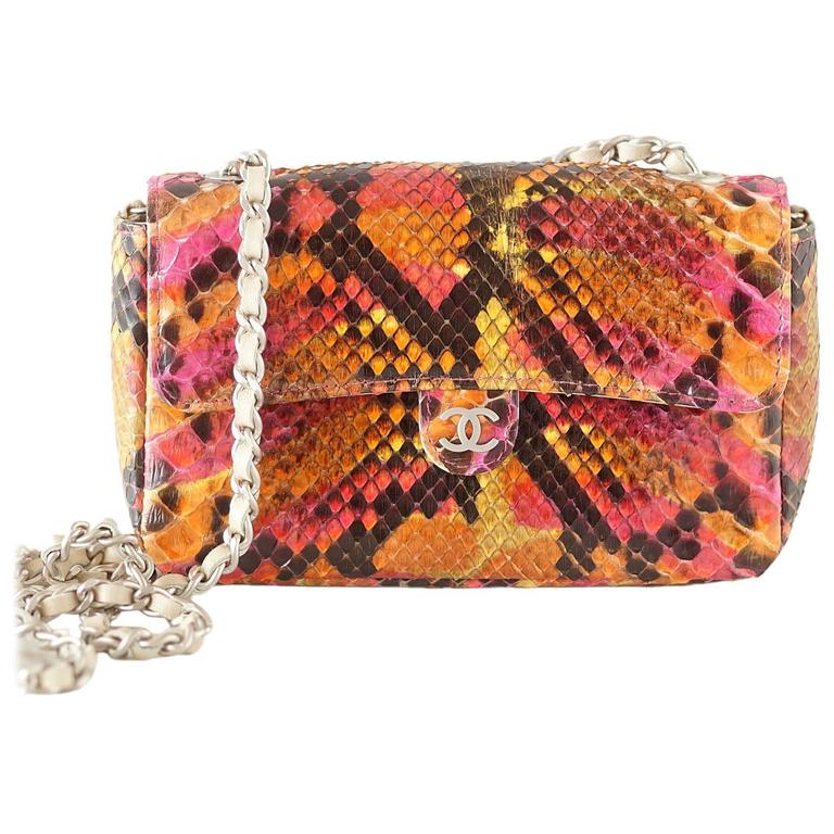 Chanel 00T Runway Mini Flap Multi Coloured Python Bag Clutch Cross Body For Sale